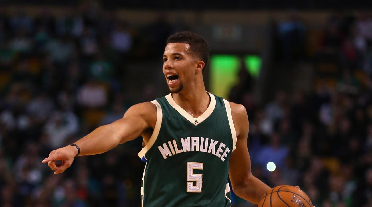 BOSTON, MA - FEBRUARY 25:  Michael Carter-Williams #5 of the Milwaukee Bucks calls a play during the second quarter against the Boston Celtics at TD Garden on February 25, 2016 in Boston, Massachusetts.  (Photo by Maddie Meyer/Getty Images)