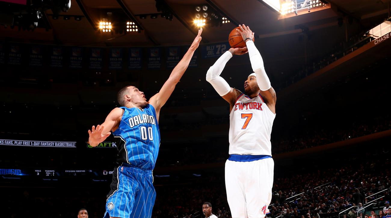 NEW YORK, NY - FEBRUARY 26: Carmelo Anthony #7 of the New York Knicks shoots the ball during the game against Aaron Gordon #00 of the Orlando Magic on February 26, 2016 at Madison Square Garden in New York City, New York.  (Photo by Nathaniel S. Butler/NB