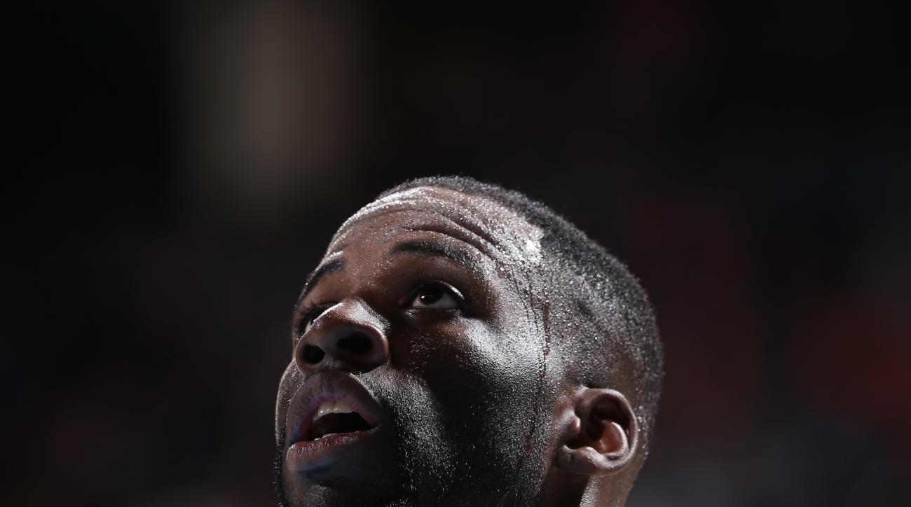 OKLAHOMA CITY, OK - FEBRUARY 27:  Draymond Green #23 of the Golden State Warriors looks on during the game against the Oklahoma City Thunder on February 27, 2016 at Chesapeake Energy Arena in Oklahoma City, Oklahoma. (Photo by Joe Murphy/NBAE via Getty Im