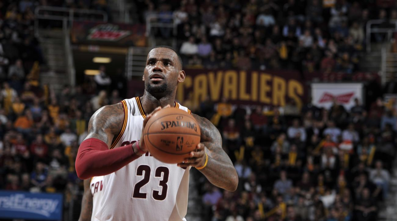 CLEVELAND, OH - FEBRUARY 29:  LeBron James #23 of the Cleveland Cavaliers prepares to shoot a free throw against the Indiana Pacers on February 29, 2016 at Quicken Loans Arena in Cleveland, Ohio. (Photo by David Liam Kyle/NBAE via Getty Images)