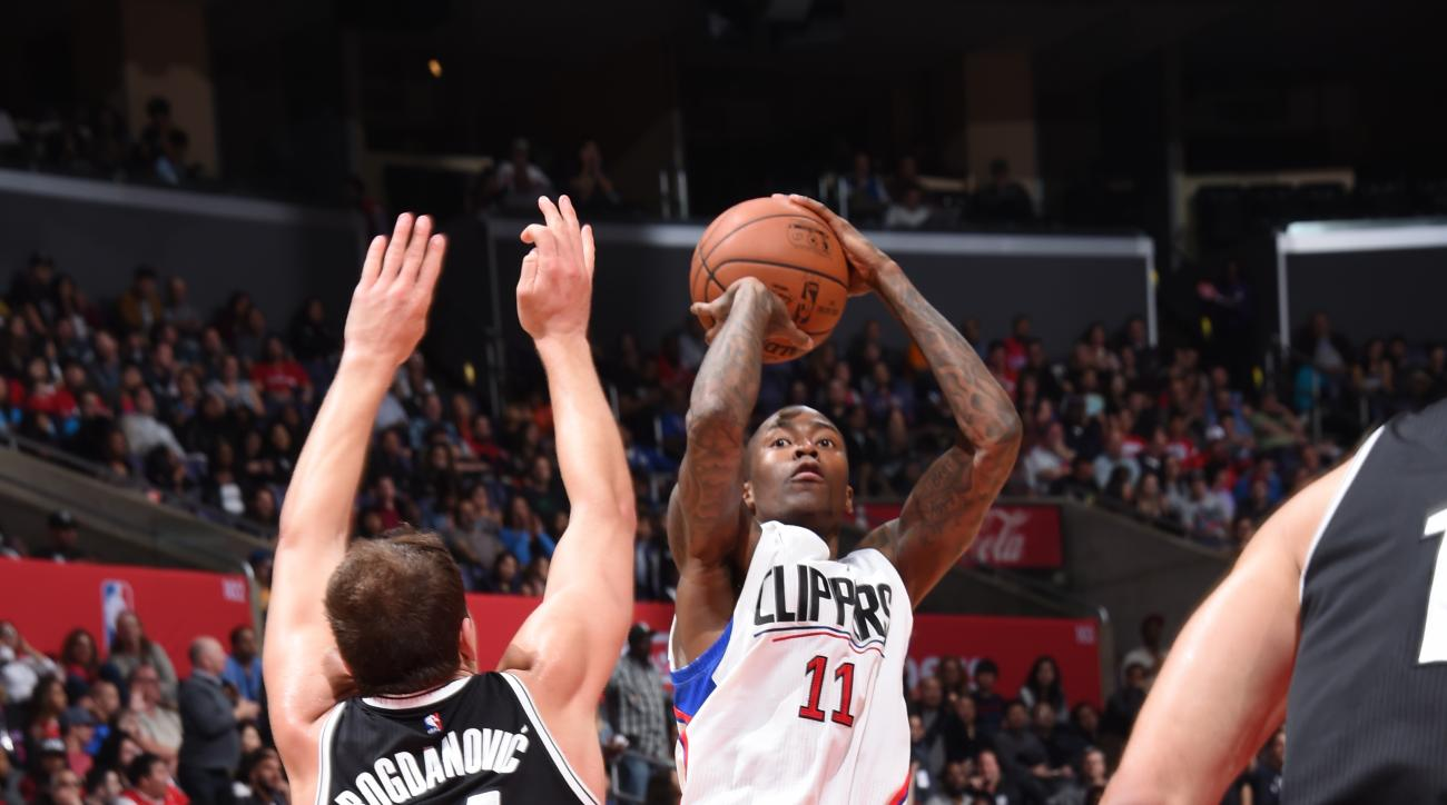 LOS ANGELES, CA  - FEBRUARY 29: Jamal Crawford #11 of the Los Angeles Clippers shoots against the Bojan Bogdanovic #44 of the Brooklyn Nets during the game on February 29, 2016 at Staples Center in Los Angeles, California. (Photo by Andrew D. Bernstein/NB