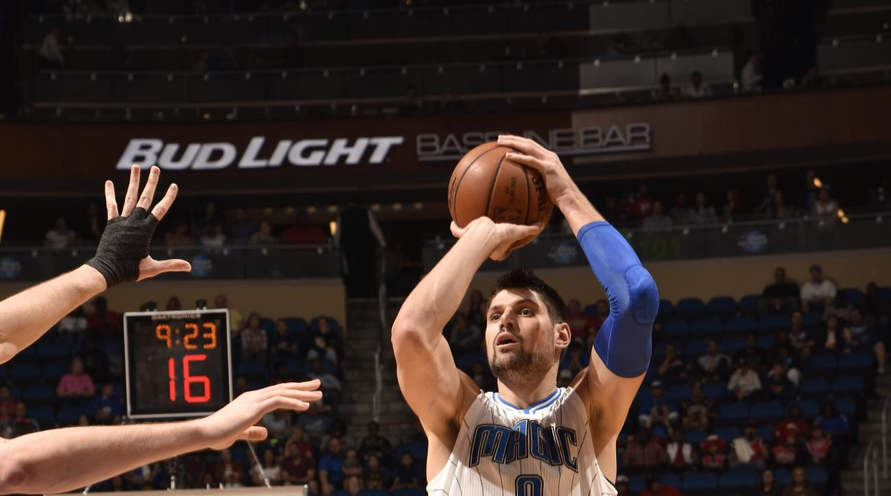 ORLANDO, FL - MARCH 2:  Nikola Vucevic #9 of the Orlando Magic shoots the ball against the Chicago Bulls on March 2, 2016 at Amway Center in Orlando, Florida. (Photo by Fernando Medina/NBAE via Getty Images)