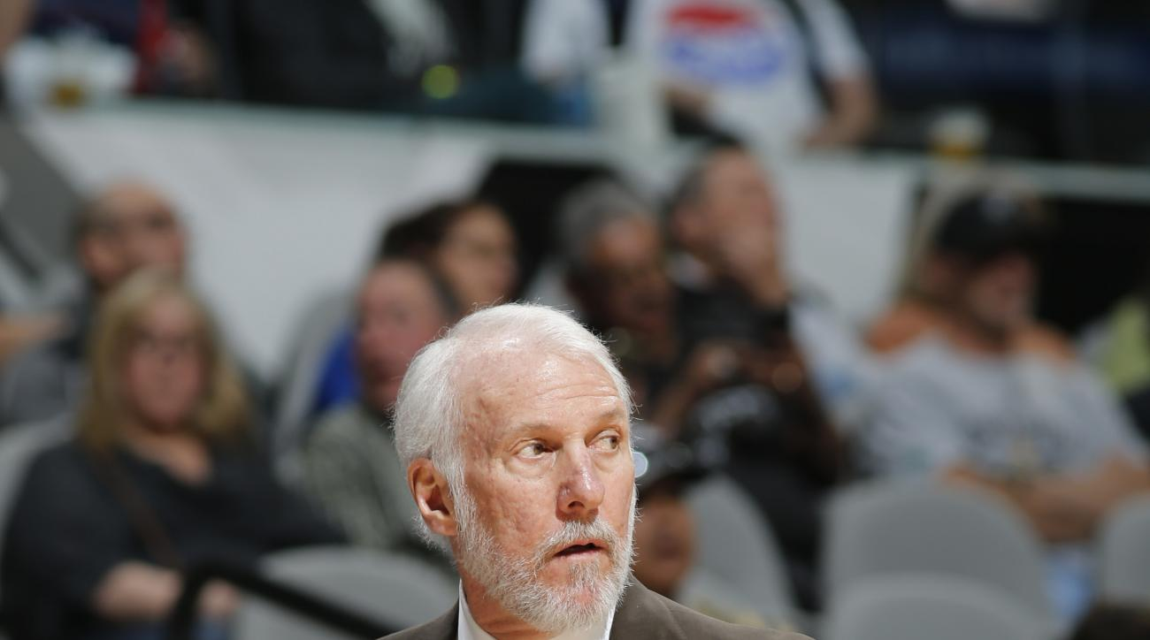 SAN ANTONIO, TX - MARCH 2: Gregg Popovich of the San Antonio Spurs is seen during the game against the Detroit Pistons on March 2, 2016 at the AT&T Center in San Antonio, Texas.