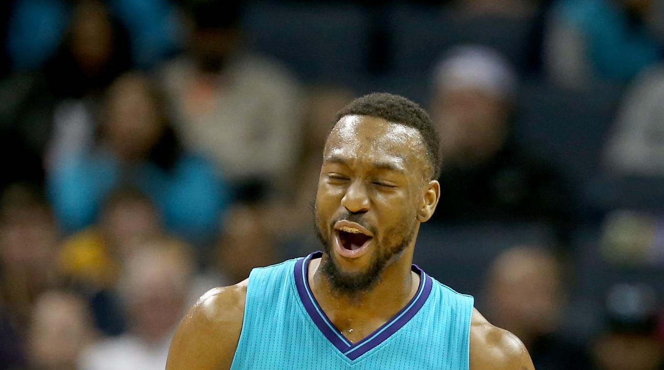 CHARLOTTE, NC - MARCH 04:  Kemba Walker #15 of the Charlotte Hornets reacts after a play against the Indiana Pacers during their game at Time Warner Cable Arena on March 4, 2016 in Charlotte, North Carolina. (Photo by Streeter Lecka/Getty Images)