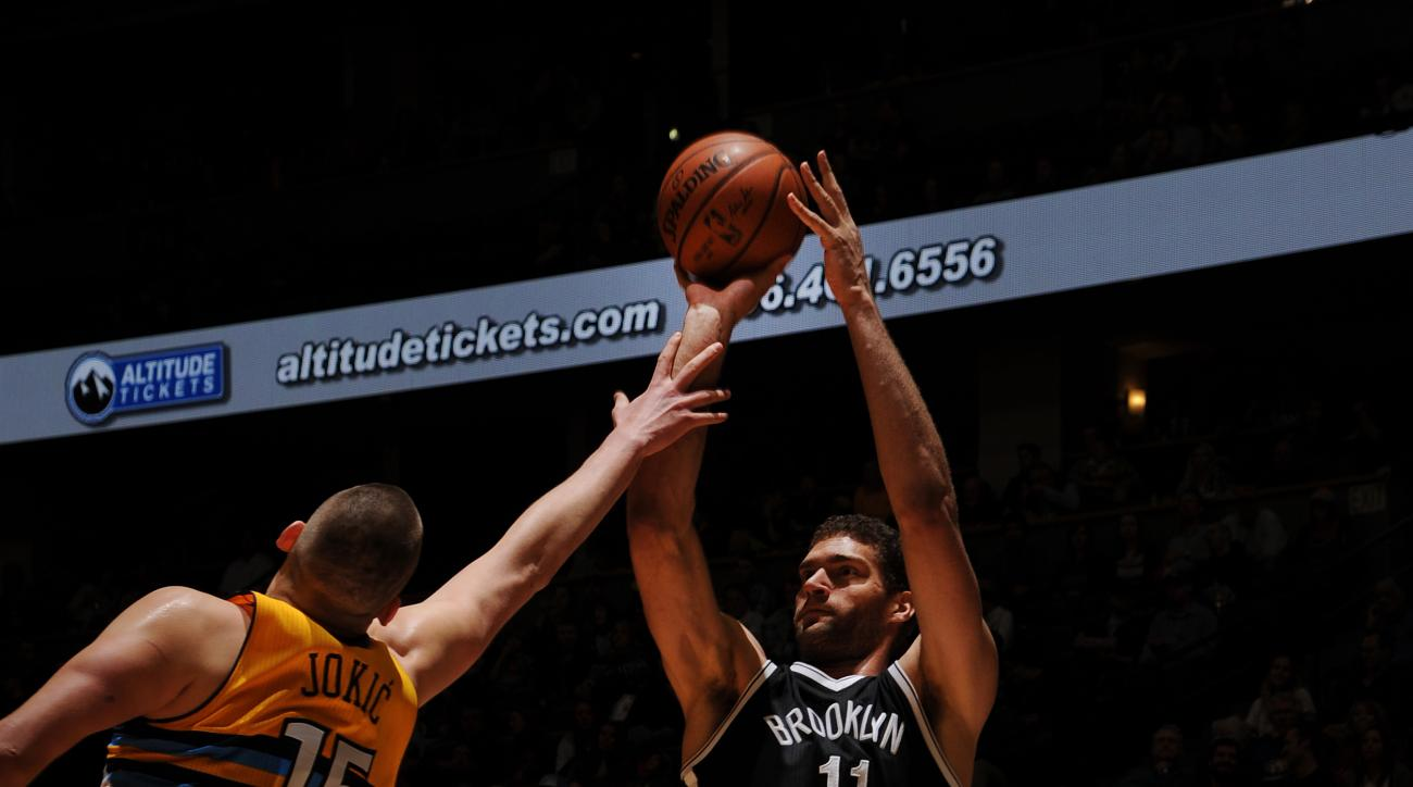 DENVER, CO - MARCH 4: Brook Lopez #11 of the Brooklyn Nets shoots the ball during the game against the Denver Nuggets on March 4, 2016 at the Pepsi Center in Denver, Colorado. (Photo by Bart Young/NBAE via Getty Images)