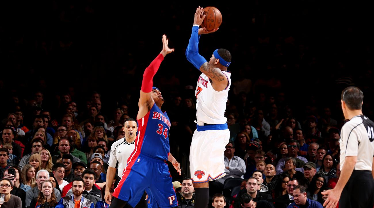 NEW YORK, NY - MARCH 5:  Carmelo Anthony #7 of the New York Knicks shoots against Tobias Harris #34 of the Detroit Pistons on March 5, 2016 at Madison Square Garden in New York City.  (Photo by Nathaniel S. Butler/NBAE via Getty Images)