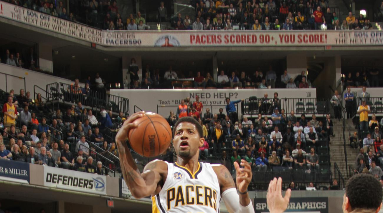 INDIANAPOLIS, IN - MARCH 7: Paul George #13 of the Indiana Pacers shoots the ball against the San Antonio Spurs on March 7, 2016 at Bankers Life Fieldhouse in Indianapolis, Indiana. (Photo by Ron Hoskins/NBAE via Getty Images)