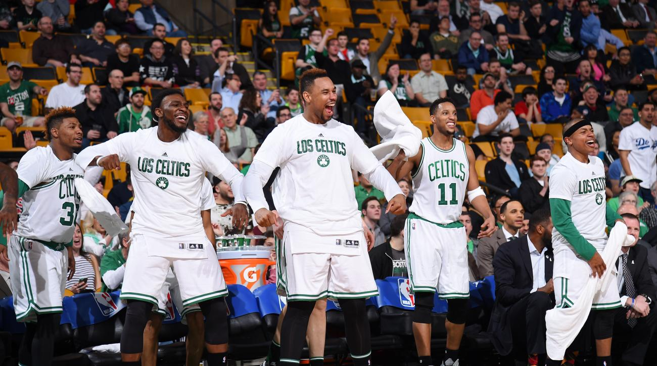 BOSTON, MA - MARCH 9:  The Boston Celtics bench celebrates during the game against the Memphis Grizzlies on March 9, 2016 at the TD Garden in Boston, Massachusetts.  (Photo by Brian Babineau/NBAE via Getty Images)