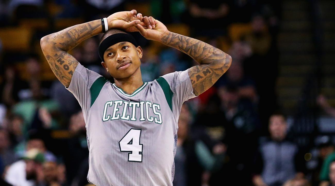 BOSTON, MA - MARCH 11:  Isaiah Thomas #4 of the Boston Celtics looks on during the fourth quarter at TD Garden on March 11, 2016 in Boston, Massachusetts. The Rockets defeat the Celtics 102-98. (Photo by Maddie Meyer/Getty Images)