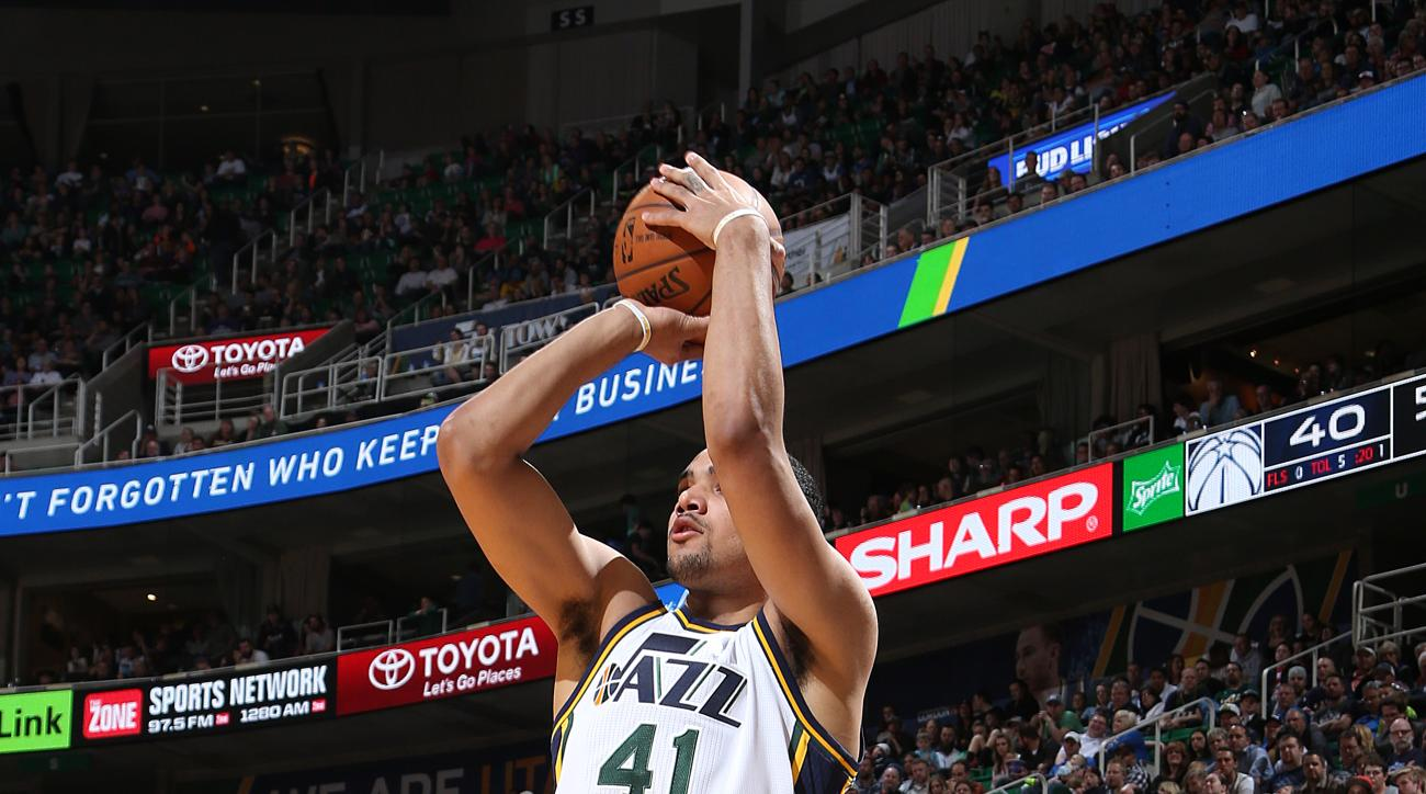 SALT LAKE CITY, UT - MARCH 10: Trey Lyles #41 of the Utah Jazz shoots the ball against the Washington Wizards on March 10, 2016 at vivint.SmartHome Arena in Salt Lake City, Utah. (Photo by Melissa Majchrzak/NBAE via Getty Images)