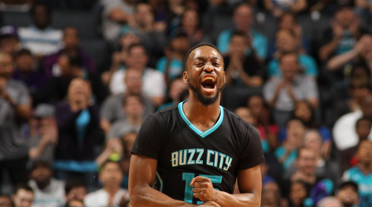 CHARLOTTE, NC - MARCH 12:  Kemba Walker #15 of the Charlotte Hornets during the game against the Houston Rockets at the Time Warner Cable Arena on March 12, 2016 in Charlotte, North Carolina. (Photo by Brock Williams-Smith/NBAE via Getty Images)