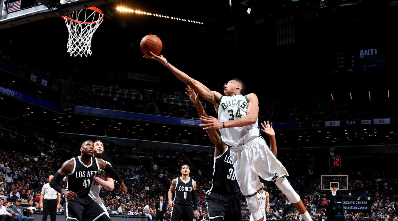 BROOKLYN, NY - MARCH 13:  Giannis Antetokounmpo #34 of the Milwaukee Bucks shoots against the Brooklyn Nets on March 13, 2016 at Barclays Center in the Brooklyn borough of New York City. (Photo by Nathaniel S. Butler/NBAE via Getty Images)