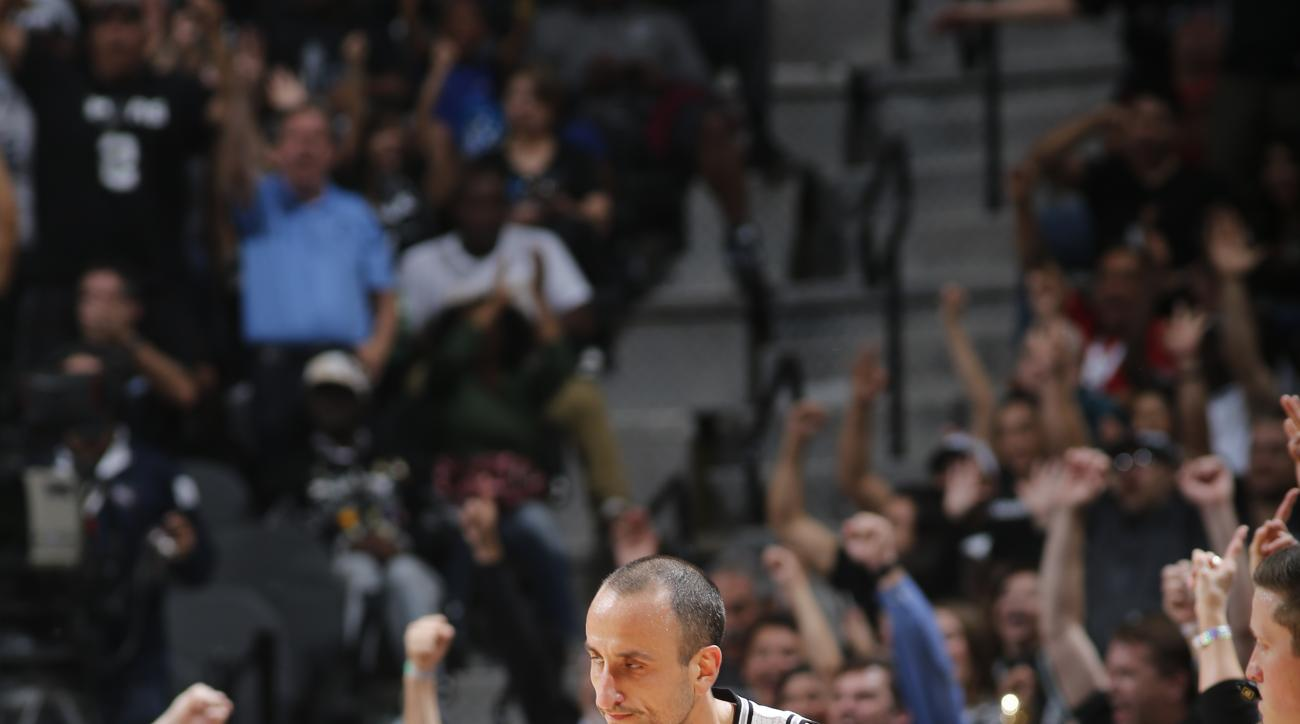 SAN ANTONIO, TX - MARCH 15:  Manu Ginobili #20 of the San Antonio Spurs celebrates during the game against the Los Angeles Clippers on March 15, 2016 at the AT&T Center in San Antonio, Texas.