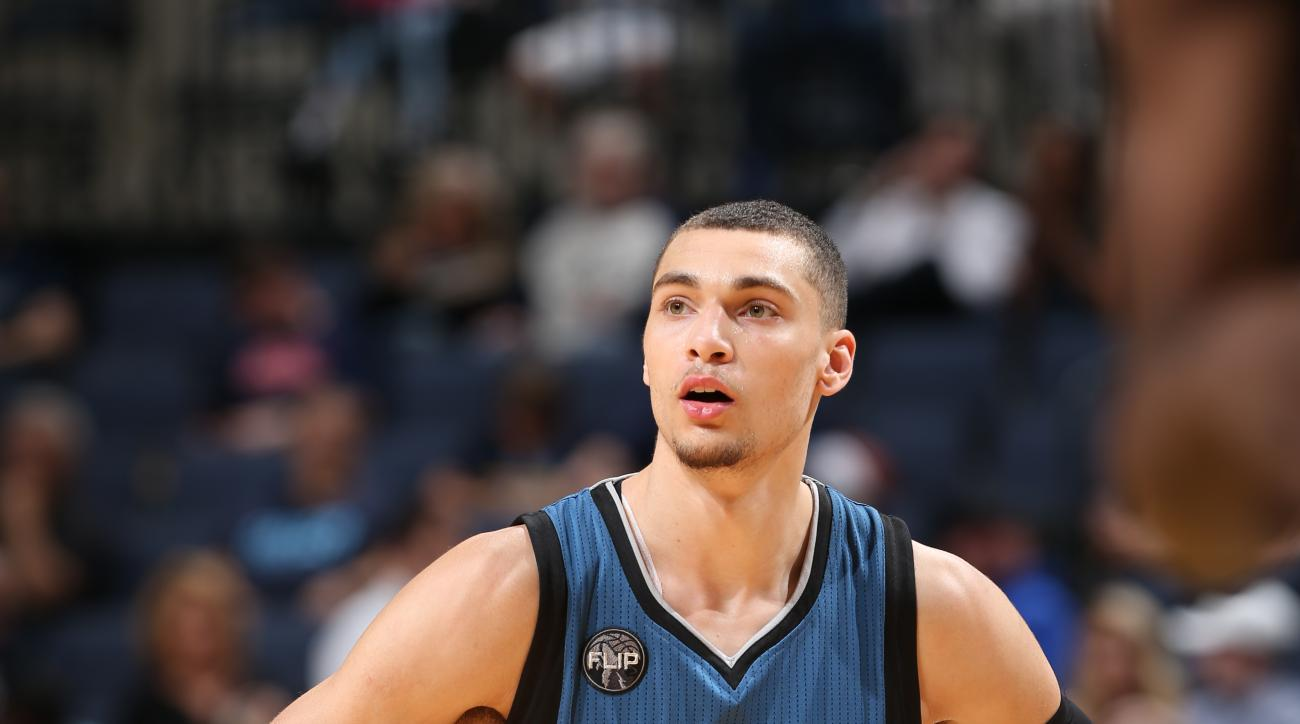 MEMPHIS, TN - MARCH 16: Zach LaVine #8 of the Minnesota Timberwolves is seen during the game against the Memphis Grizzlies on March 16, 2016 in Memphis, Tennessee. (Photo by Joe Murphy/NBAE via Getty Images)