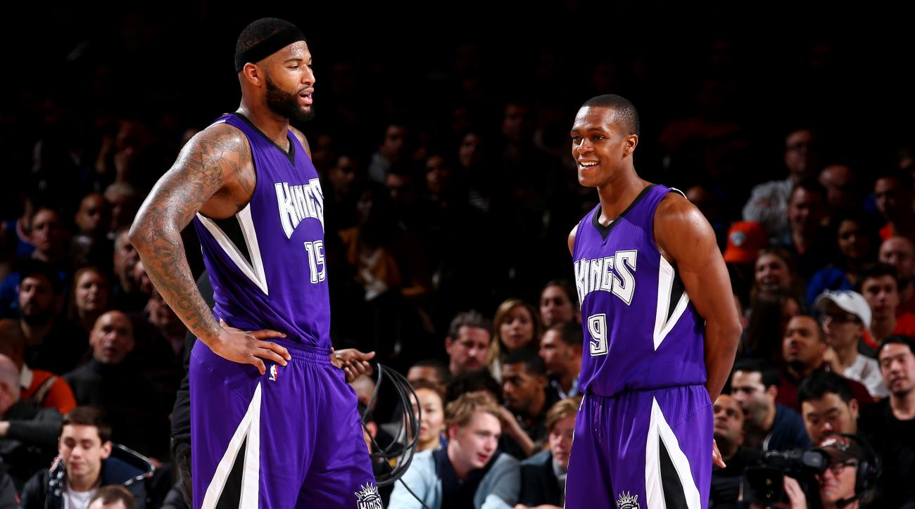 NEW YORK, NY - MARCH 20:  DeMarcus Cousins #15 of the Sacramento Kings and Rajon Rondo #9 of the Sacramento Kings talk during the game against the New York Knicks on March 20, 2016 at Madison Square Garden in New York City, New York.  (Photo by Nathaniel
