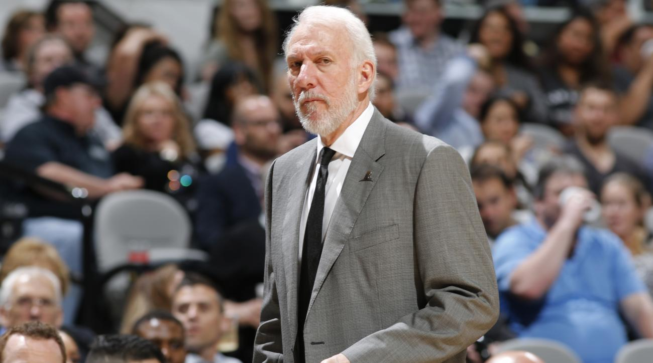 SAN ANTONIO, TX  - MARCH 23: Head coach, Gregg Popovich of the San Antonio Spurs during the game against the Miami Heat on March 23, 2016 at AT&T Center in San Antonio, Texas. (Photo by Chris Covatta/NBAE via Getty Images)