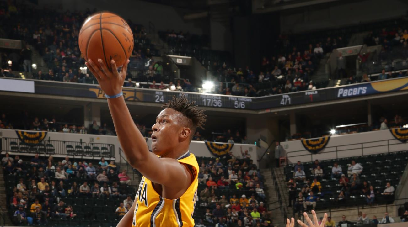 INDIANAPOLIS, IN  - MARCH 24: Myles Turner #33 of the Indiana Pacers goes for the lay up against the New Orleans Pelicans during the game on March 24, 2016 at Bankers Life Fieldhouse in Indianapolis, Indiana. (Photo by Ron Hoskins/NBAE via Getty Images)