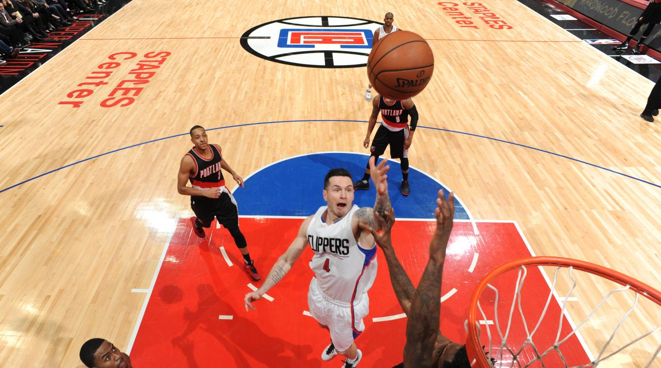 LOS ANGELES, CA - MARCH 24:  J.J. Redick #4 of the Los Angeles Clippers puts up the shot against the Portland Trail Blazers on March 24, 2016 at STAPLES Center in Los Angeles, California. (Photo by Andrew D. Bernstein/NBAE via Getty Images)
