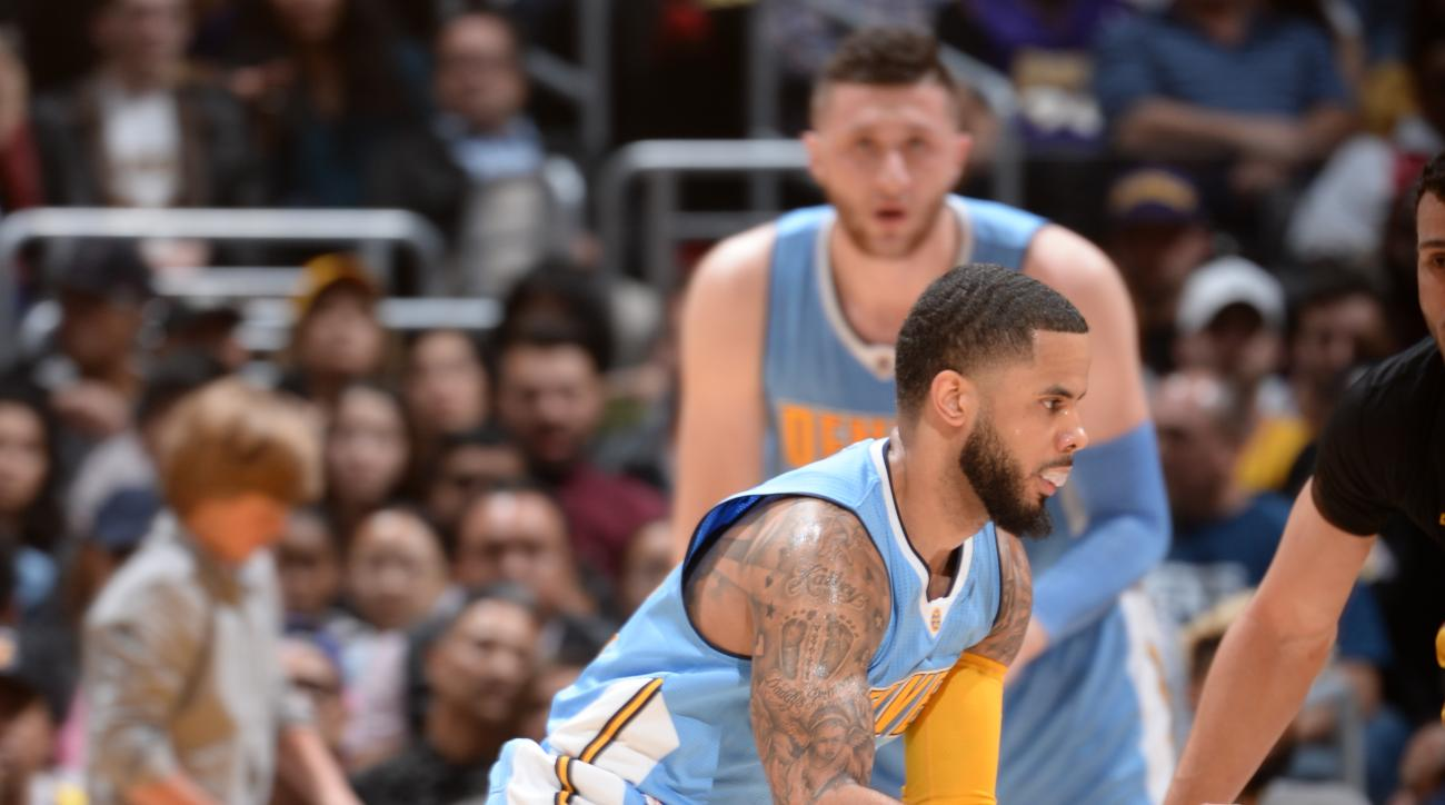 LOS ANGELES, CA - MARCH 25: D.J. Augustin #12 of the Denver Nuggets handles the ball against the Los Angeles Lakers on March 25, 2016 at STAPLES Center in Los Angeles, California. (Photo by Andrew D. Bernstein/NBAE via Getty Images)