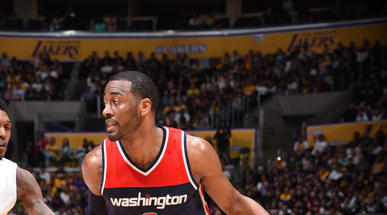 LOS ANGELES, CA - MARCH 27:  John Wall #2 of the Washington Wizards dribbles the ball against the Los Angeles Lakers on March 27, 2016 at STAPLES Center in Los Angeles, California. (Photo by Andrew D. Bernstein/NBAE via Getty Images)