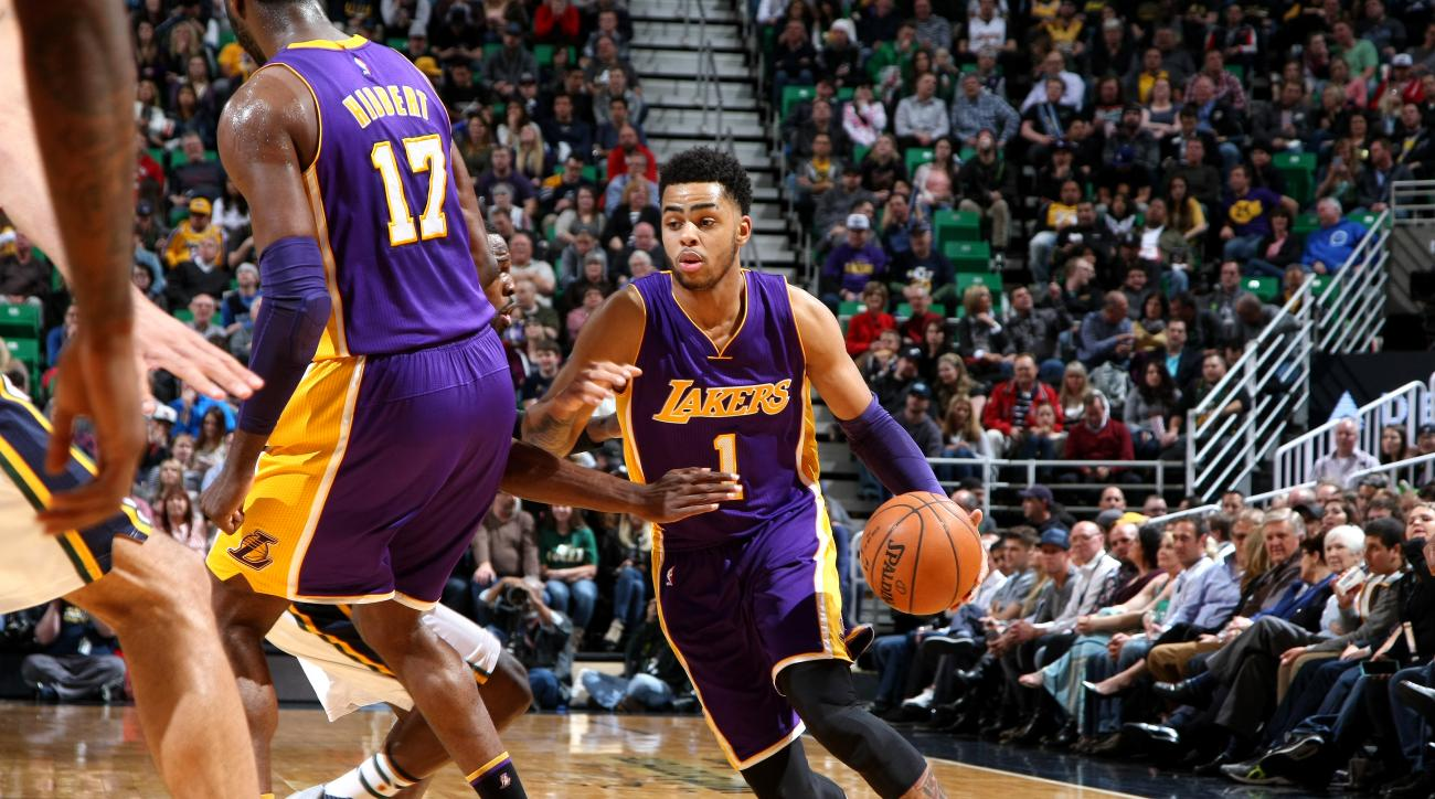SALT LAKE CITY, UT - MARCH 28: D'Angelo Russell #1 of the Los Angeles Lakers handles the ball during the game against the Utah Jazz on March 28, 2016 at EnergySolutions Arena in Salt Lake City, Utah. (Photo by Melissa Majchrzak/NBAE via Getty Images)