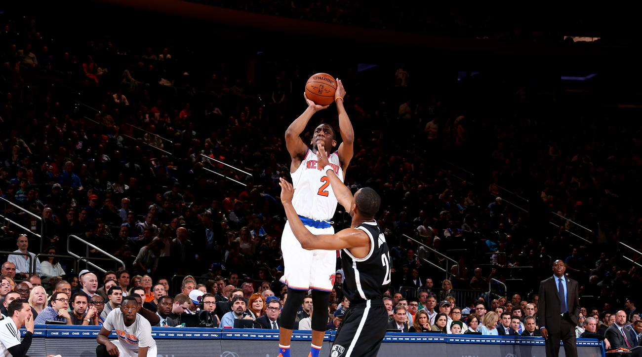 NEW YORK, NY - APRIL 1: Langston Galloway #2 of the New York Knicks shoots the ball during the game against the Brooklyn Nets on April 1, 2016 at Madison Square Garden in New York City, New York.  (Photo by Nathaniel S. Butler/NBAE via Getty Images)