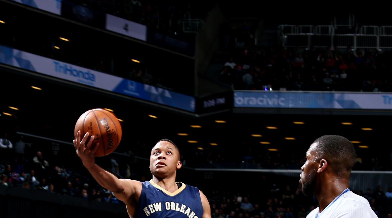 BROOKLYN, NY - APRIL 3: Tim Frazier #2 of the New Orleans Pelicans goes for the lay up during the game against the Brooklyn Nets on April 3, 2016 at Barclays Center in Brooklyn, New York. (Photo by Nathaniel S. Butler/NBAE via Getty Images)
