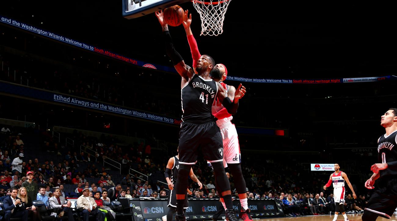 WASHINGTON, DC - APRIL 6: Thomas Robinson #41 of the Brooklyn Nets shoots a lay up during the game against the Washington Wizards on April 6, 2016 at Verizon Center in Washington, DC. (Photo by Ned Dishman/NBAE via Getty Images)