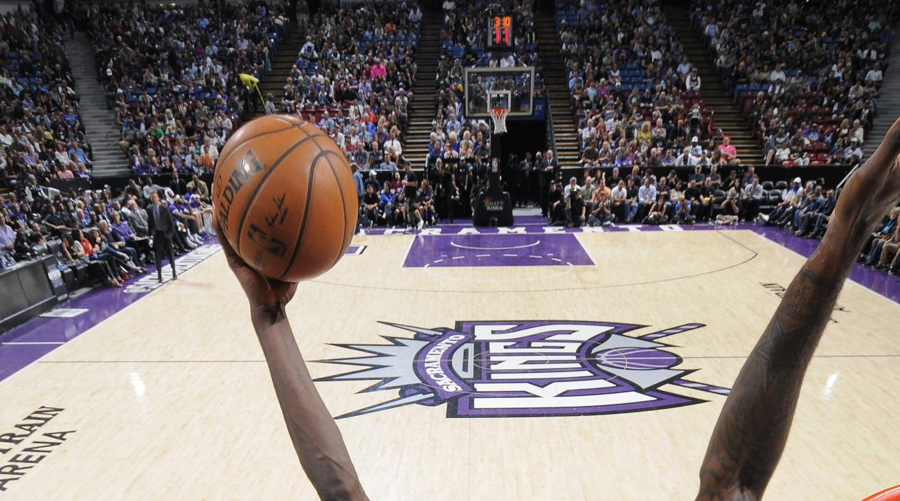 SACRAMENTO, CA - APRIL 7:  Gorgui Dieng #5 of the Minnesota Timberwolves shoots the ball against the Sacramento Kings  at Sleep Train Arena on April 7, 2015 in Sacramento, California. (Photo by Rocky Widner/NBAE via Getty Images)