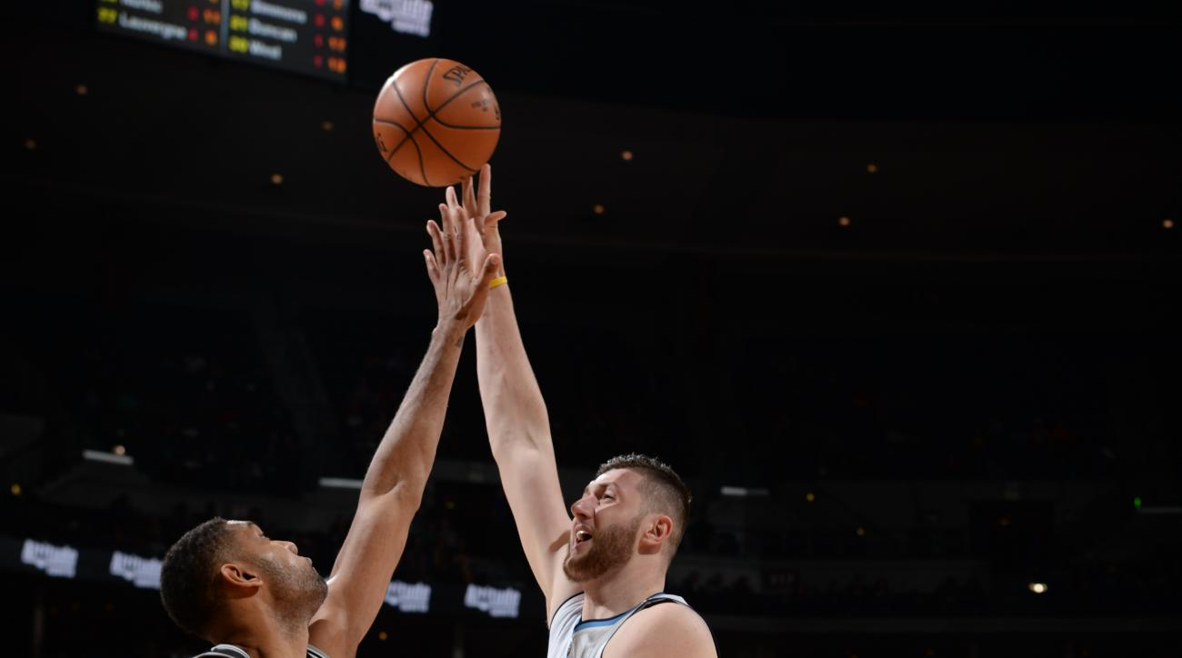 DENVER, CO - APRIL 8:  Jusuf Nurkic #23 of the Denver Nuggets shoots the ball against the San Antonio Spurs on April 8, 2016 at the Pepsi Center in Denver, Colorado. (Photo by Garrett Ellwood/NBAE via Getty Images)