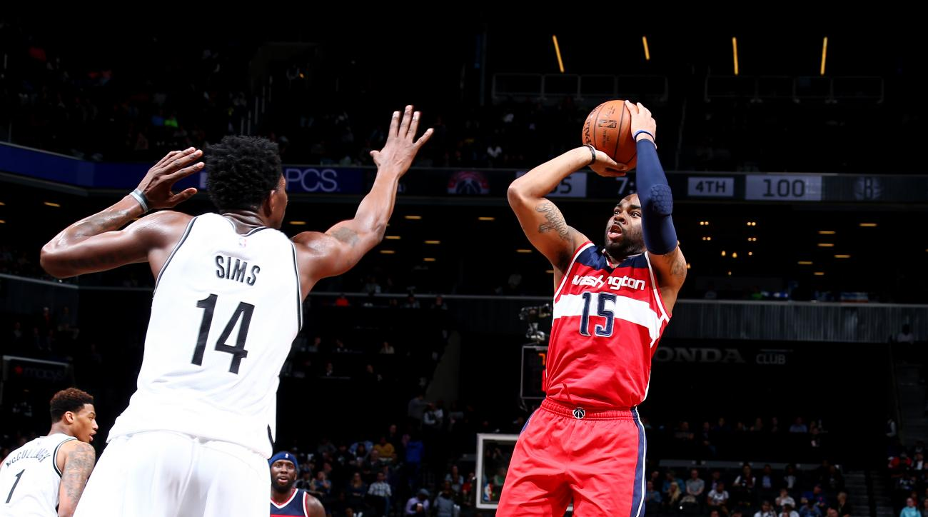 BROOKLYN, NY - APRIL 11: Marcus Thornton #15 of the Washington Wizards shoots the ball against the Brooklyn Nets on April 11, 2016 at Barclays Center in Brooklyn, New York. (Photo by Nathaniel S. Butler/NBAE via Getty Images)