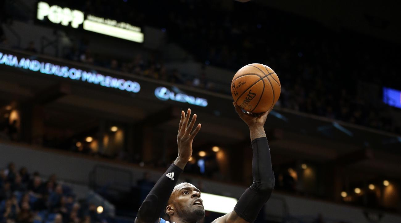 MINNEAPOLIS, MN -  APRIL 11: Shabazz Muhammad #15 of the Minnesota Timberwolves shoots the ball during the game against the Houston Rockets on April 11, 2016 at Target Center in Minneapolis, Minnesota. (Photo by Jordan Johnson/NBAE via Getty Images)