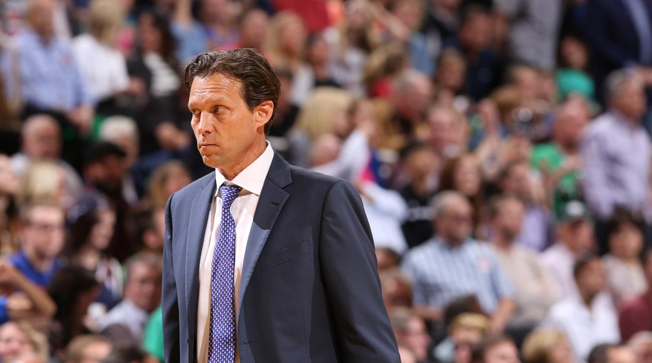 SALT LAKE CITY, UT - APRIL 11: Quin Snyder of the Utah Jazz is seen against the Dallas Mavericks on April 11, 2016 at vivint.SmartHome Arena in Salt Lake City, Utah. (Photo by Melissa Majchrzak/NBAE via Getty Images)