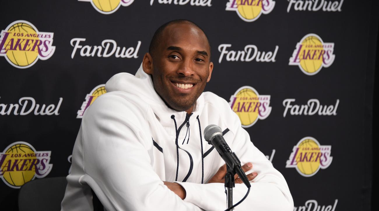LOS ANGELES, CA - APRIL 11: Kobe Bryant #24 of the Los Angeles Lakers is seen at the post game press conference afer playing against the Oklahoma City Thunder on April 11, 2016  at the Chesapeake Energy Arena in Oklahoma City, Oklahoma. (Photo by Andrew D