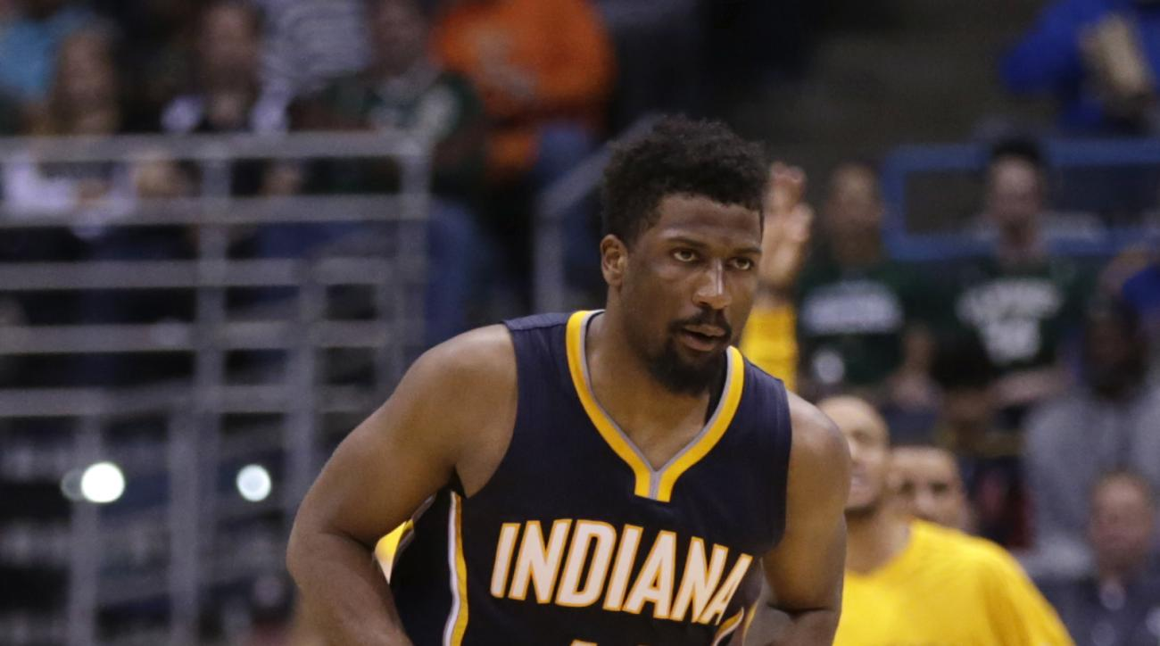 MILWAUKEE, WI - APRIL 13: Solomon Hill #44 of the Indiana Pacers runs down the court after shooting a three pointer during the second quarter in his NIKE signature Mamba shoes against the Milwaukee Bucks at BMO Harris Bradley Center on April 13, 2016 in M
