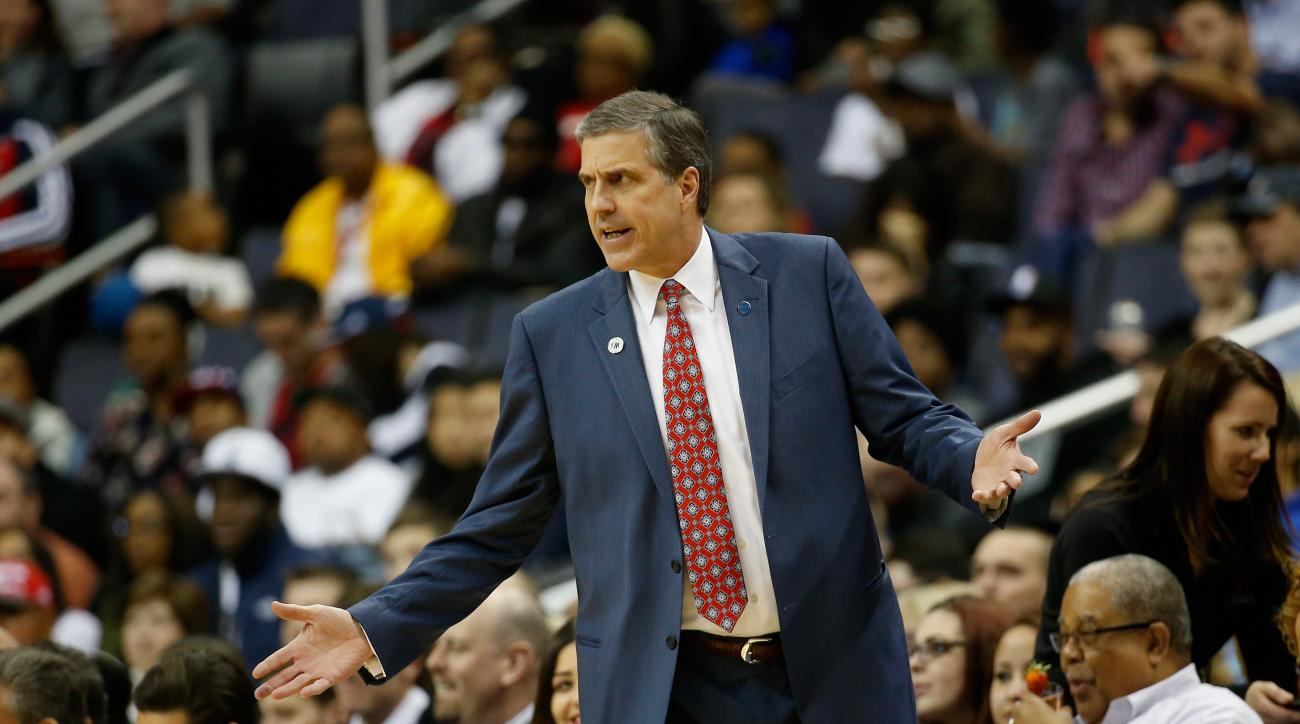 WASHINGTON, DC - APRIL 13:  Head coach Randy Wittman of the Washington Wizards looks on in the first half against the Atlanta Hawks at Verizon Center on April 13, 2016 in Washington, DC.  (Photo by Rob Carr/Getty Images)