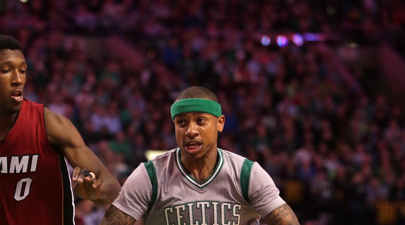 BOSTON, MA - APRIL 13: Isaiah Thomas #4 of the Boston Celtics drives to the basket against Josh Richardson #0 of the Miami Heat in the third quarter at TD Garden on April 13, 2016 in Boston, Massachusetts. (Photo by Mike Lawrie/Getty Images)