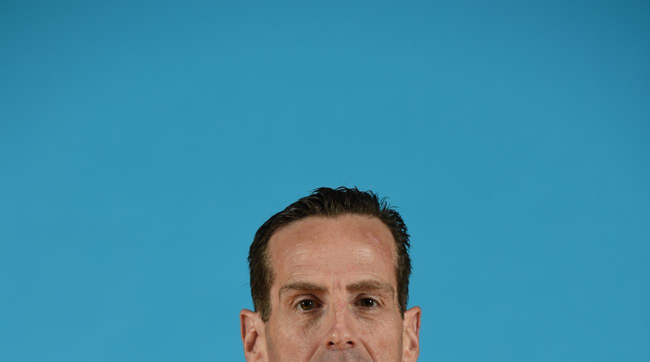 ATLANTA, GA - SEPTEMBER 29: Kenny Atkinson of the Atlanta Hawks poses for a photograph during the Atlanta Hawks Media Day on September 29, 2014 at Philips Arena in Atlanta, Georgia.  (Photo by Scott Cunningham/NBAE via Getty Images)