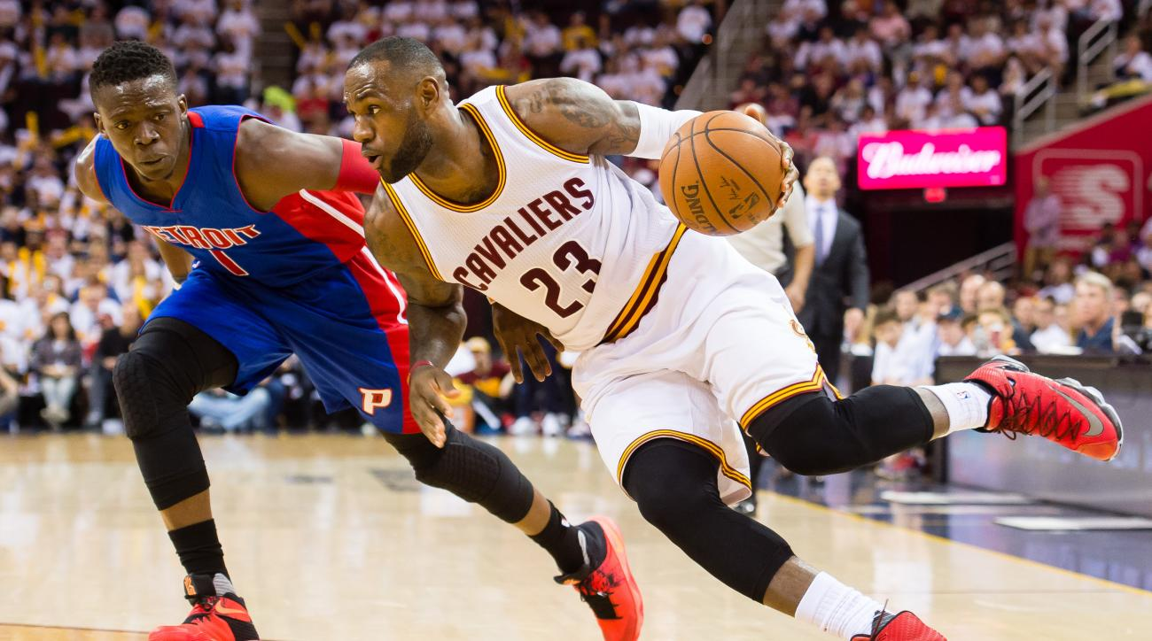 CLEVELAND, OH - APRIL 17: LeBron James #23 of the Cleveland Cavaliers drives Reggie Jackson #1 of the Detroit Pistons during the second quarter of the NBA Eastern Conference Quarterfinals at Quicken Loans Arena on April 17, 2016 in Cleveland, Ohio. The Ca