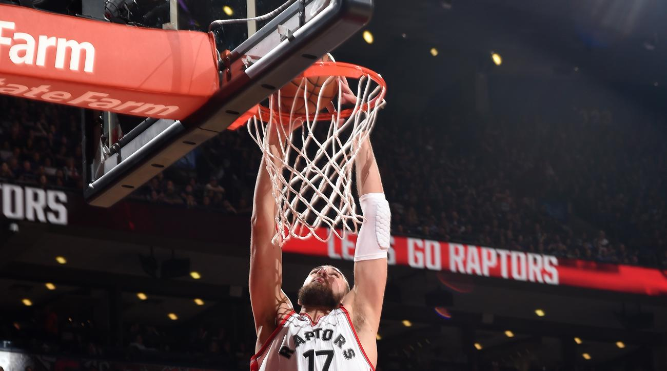 TORONTO, CANADA - APRIl 18: Jonas Valanciunas #17 of the Toronto Raptors dunks the ball during the game against the Indiana Pacers in Game Two of the Eastern Conference Quarterfinals during the 2016 NBA Playoffs on April 18, 2016 at the Air Canada Centre