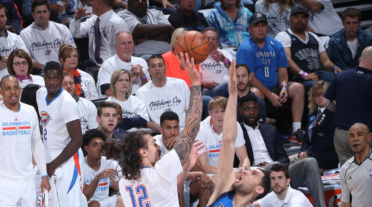 OKLAHOMA CITY, OK - APRIL 18: Steven Adams #12 of the Oklahoma City Thunder shoots the ball against the Dallas Mavericks in Game Two of Western Conference Quarterfinals of the 2016 NBA Playoffs on April 18, 2016 Chesapeake Energy Arena in Oklahoma City, O