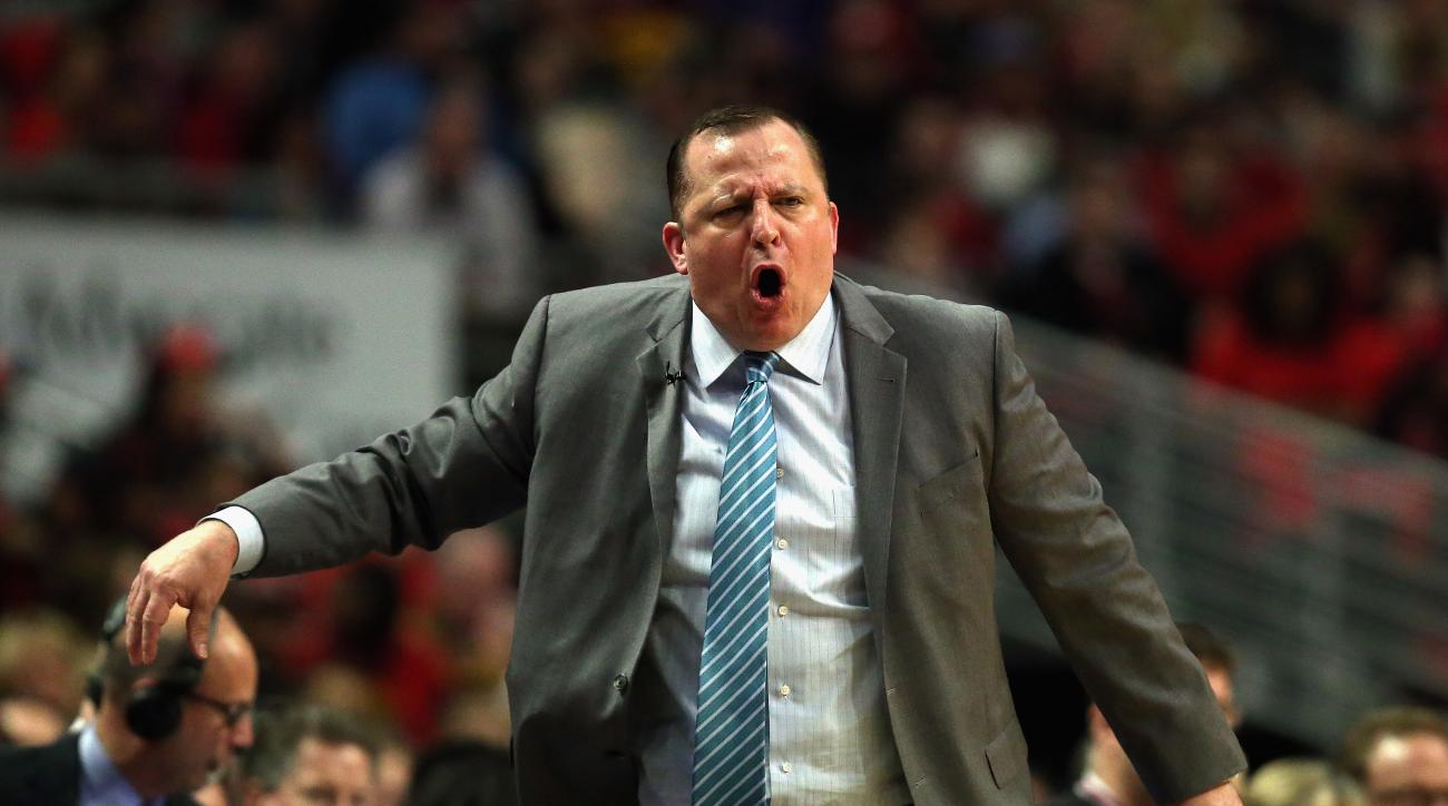 CHICAGO, IL - MAY 10: Head coach Tom Thibodeau of the Chicago Bulls yells at a referee against the Cleveland Cavaliers in Game Four of the Eastern Conference Semifinals of the 2015 NBA Playoffs at the United Center on May 10, 2015 in Chicago, Illinois. (P