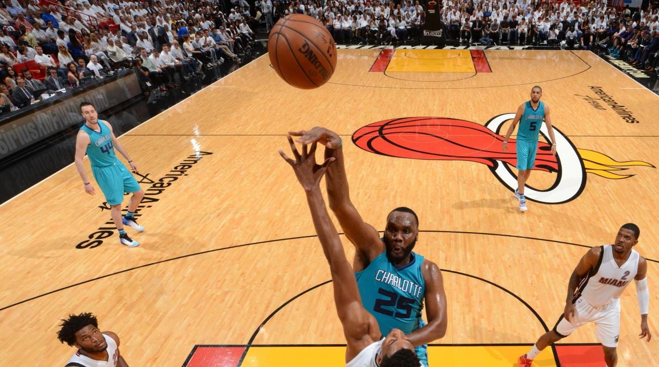 MIAMI,FL - APRIL 20:  Al Jefferson #25 of the Charlotte Hornets shoots the ball against the Miami Heat during the Eastern Conference playoffs First Round Game Two on April 20, 2016 at the American Airlines Arena in Miami, Florida. (Photo by Jesse D. Garra