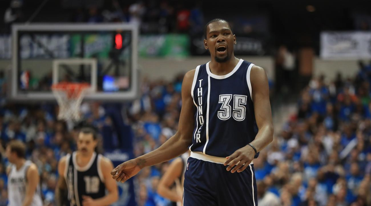 DALLAS, TX - APRIL 21:  Kevin Durant #35 of the Oklahoma City Thunder reacts after making a shot against the Dallas Mavericks during game three of the Western Conference Quarterfinals of the 2016 NBA Playoffs at American Airlines Center on April 21, 2016