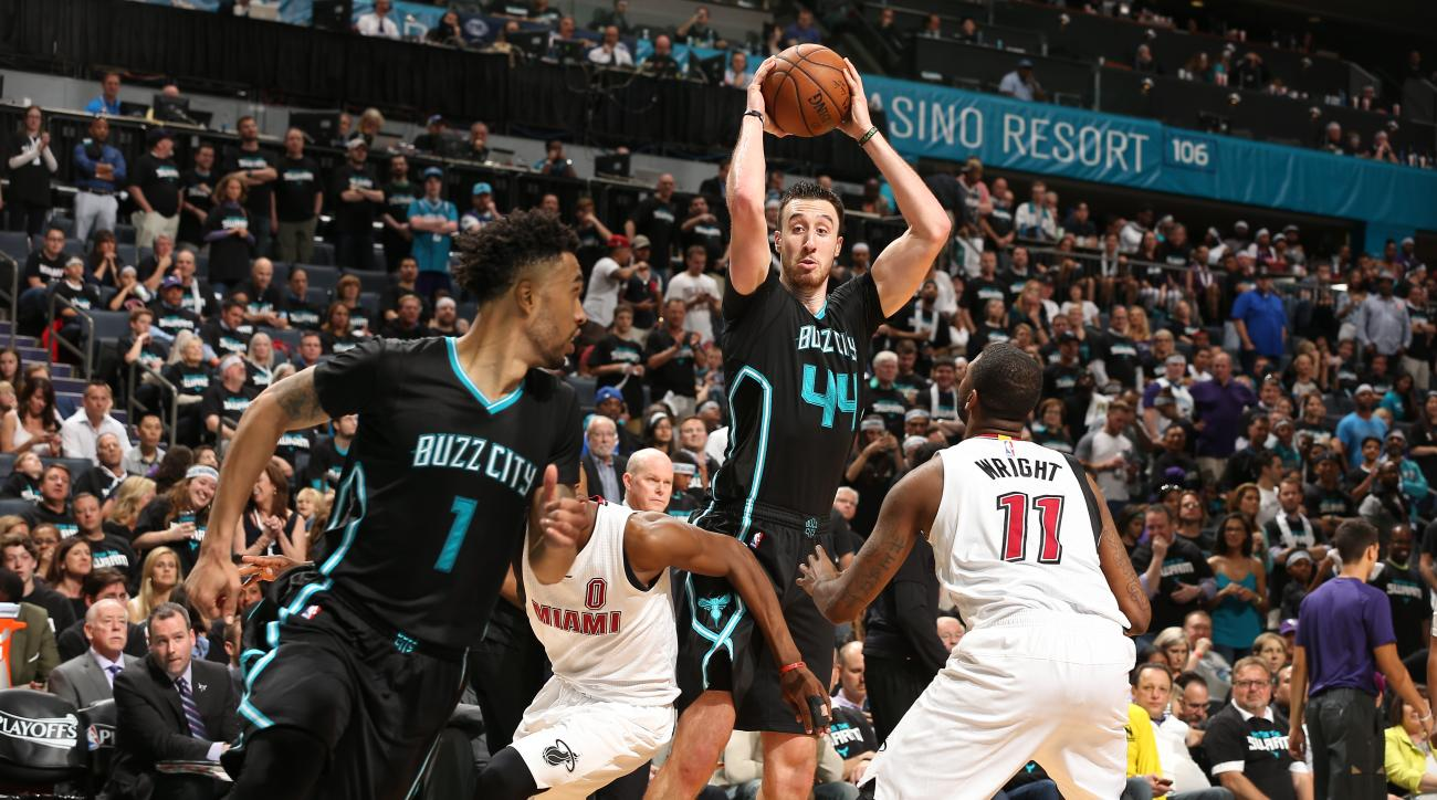 CHARLOTTE, NC  - APRIL 23: Frank Kaminsky III #44 of the Charlotte Hornets shoots against the Miami Heat during Game Three of the Eastern Conference Quarterfinals during the 2016 NBA Playoffs on April 23, 2016 at Time Warner Cable Arena in Charlotte, Nort