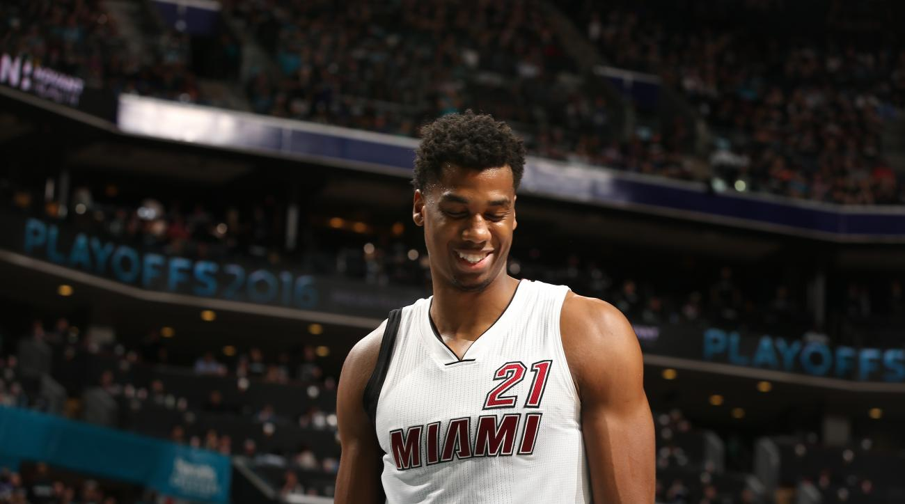 CHARLOTTE, NC  - APRIL 23: Hassan Whiteside #21 of the Miami Heat during Game Three of the Eastern Conference Quarterfinals during the 2016 NBA Playoffs against the Charlotte Hornets on April 23, 2016 at Time Warner Cable Arena in Charlotte, North Carolin