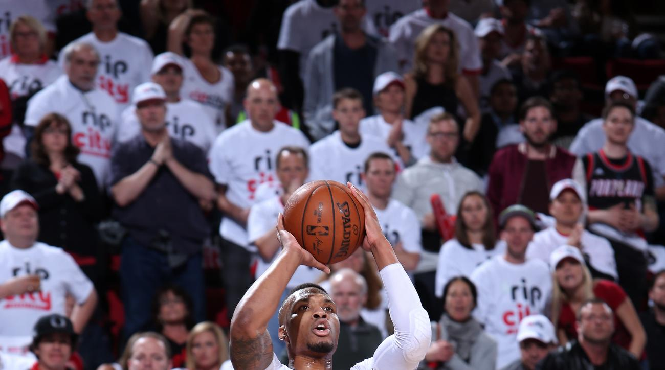 PORTLAND, OR - APRIL 23: Damian Lillard #0 of the Portland Trail Blazers shoots the ball during the game against the Los Angeles Clippers in Game Three of the Western Conference Quarterfinals during the 2016 NBA Playoffs on April 23, 2016 at the Moda Cent