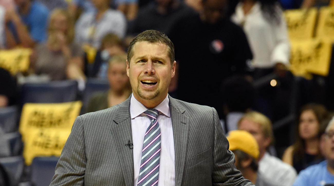 MEMPHIS, TN - APRIL 24:  Head coach Dave Joerger of the Memphis Grizzlies reacts to a call favoring the San Antonio Spurs during the first half of Game Four of the First Round of the NBA Playoffs at FedExForum on April 24, 2016 in Memphis, Tennessee. (Pho