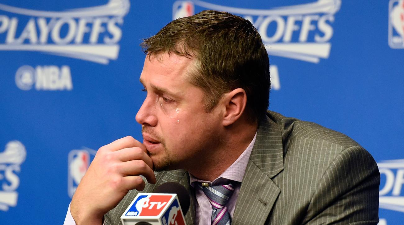 MEMPHIS, TN - APRIL 24:  Head coach Dave Joerger of the Memphis Grizzlies cries while speaking to the media after a 116-95 San Antonio victory over Memphis in Game Four of the First Round of the NBA Playoffs at FedExForum on April 24, 2016 in Memphis, Ten