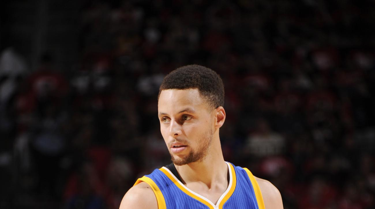 HOUSTON, TX - APRIL 24:  Stephen Curry #30 of the Golden State Warriors stands on the court during the game against the Houston Rockets in Game Four of the Western Conference Quarterfinals during the 2016 NBA Playoffs on April 24, 2016 at the Toyota Cente